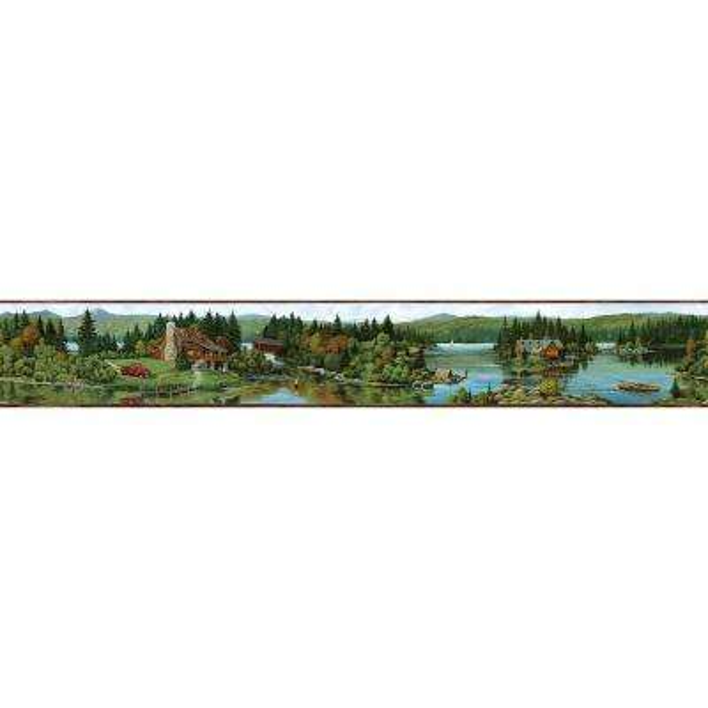 Northwoods Lodge Cabin Scene Wallpaper Border