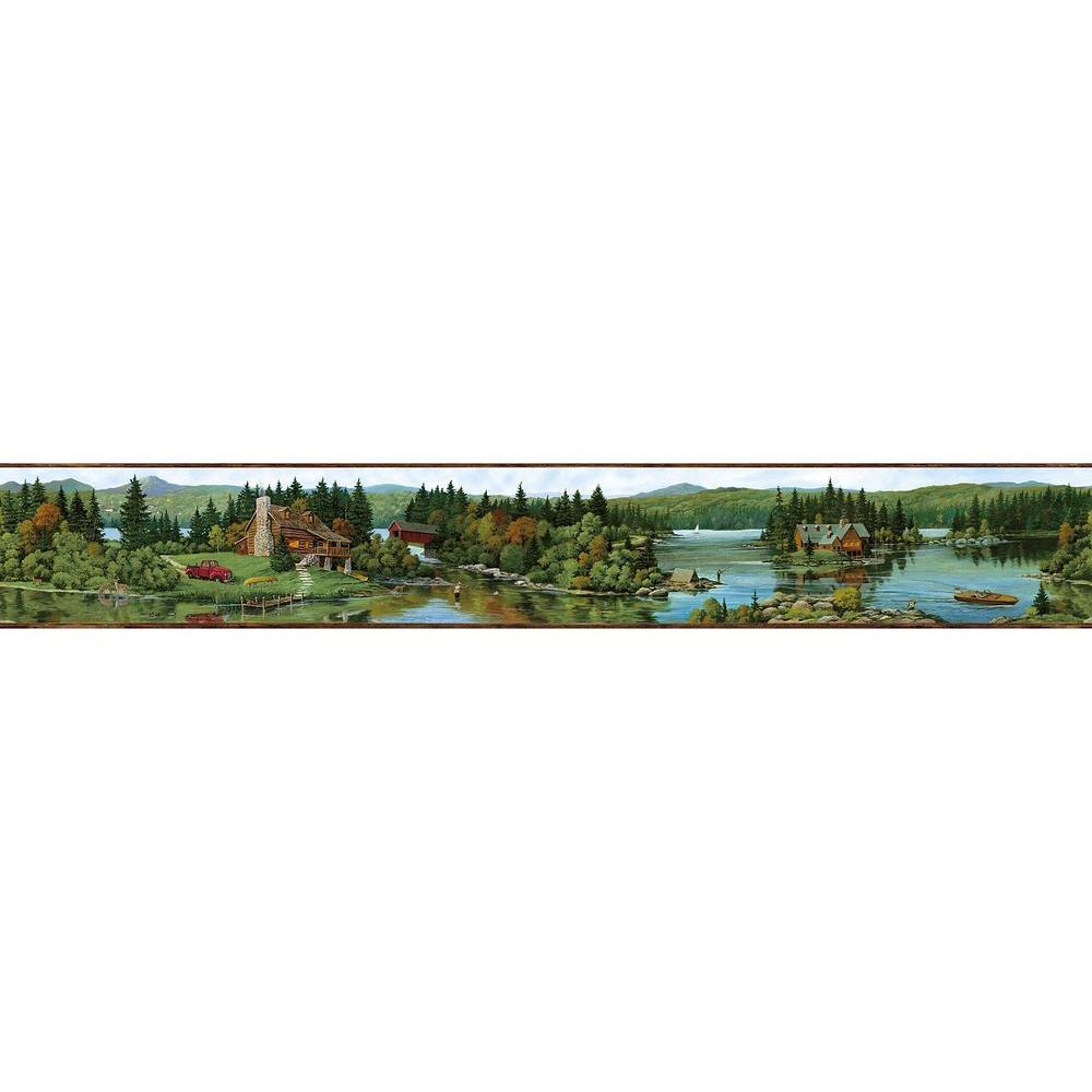 Brewster Northwoods Lodge Cabin Scene Wallpaper Border