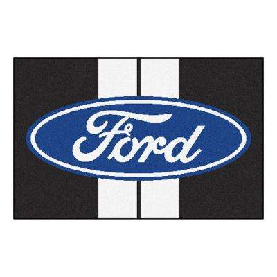 Ford - Ford Oval with Stripes Black 1 ft. 7 in. x 2 ft. 6 in. Indoor Accent Rug