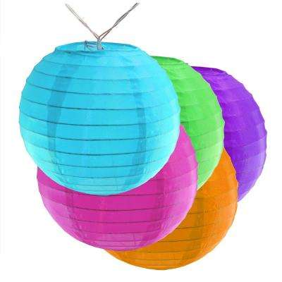 Battery Operated Multi Color String Light with 6 in. Nylon Lanterns (10-Count)