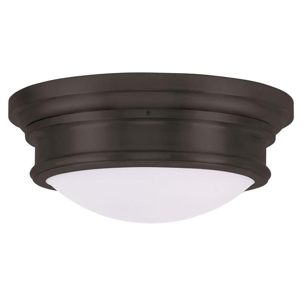 Livex Lighting Providence 3-Light Bronze Incandescent Ceiling Flushmount