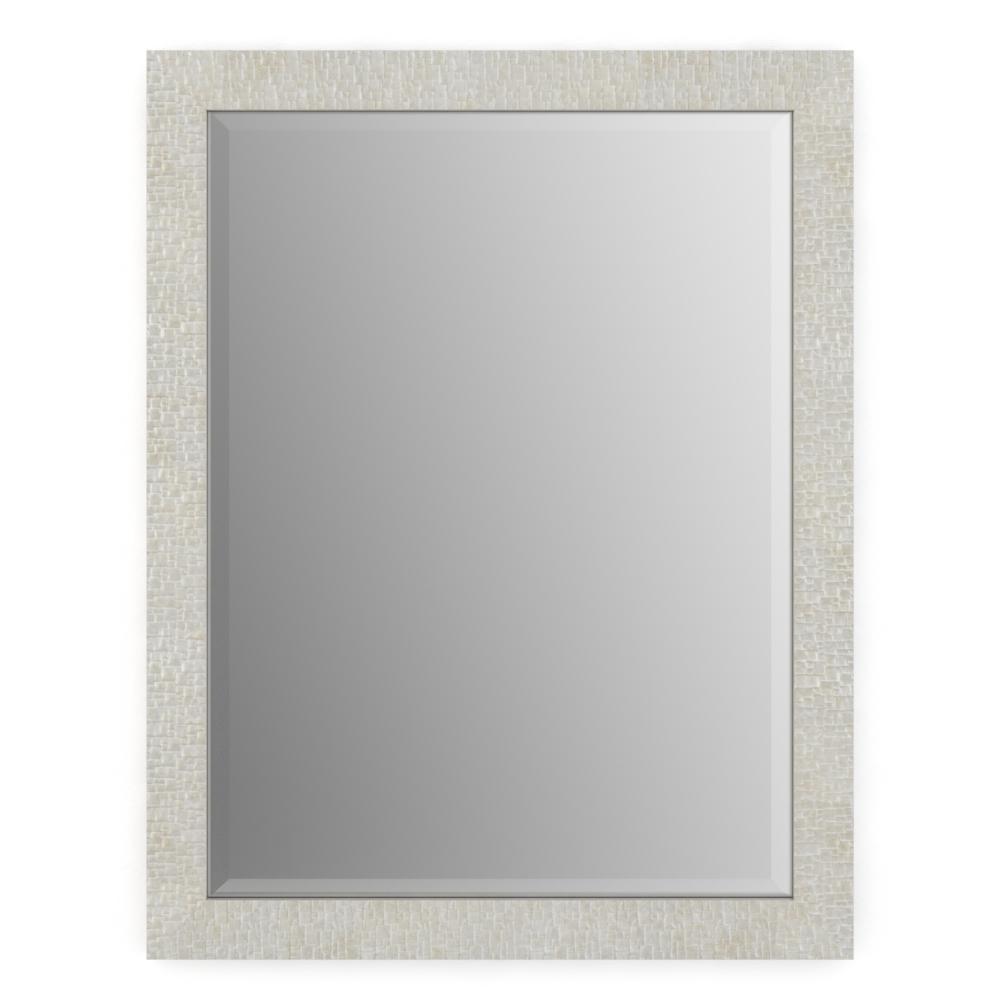 28 in. W x 36 in. H (M1) Framed Rectangular Deluxe Glass Bathroom Vanity Mirror in Stone Mosaic