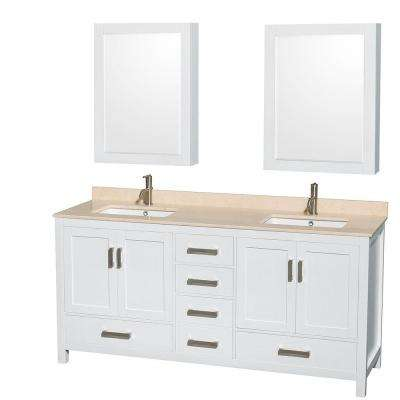 Sheffield 72 in. Double Vanity in White with Marble Vanity Top in Ivory and Medicine Cabinets