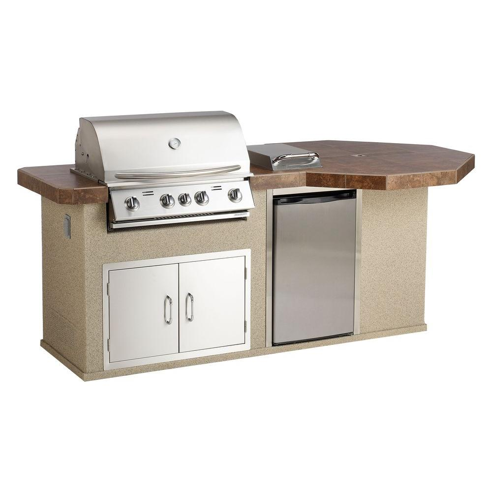 Bullet Aspen Q II Outdoor Kitchen Island with 4-Burner Natural Gas Grill in Stainless Steel