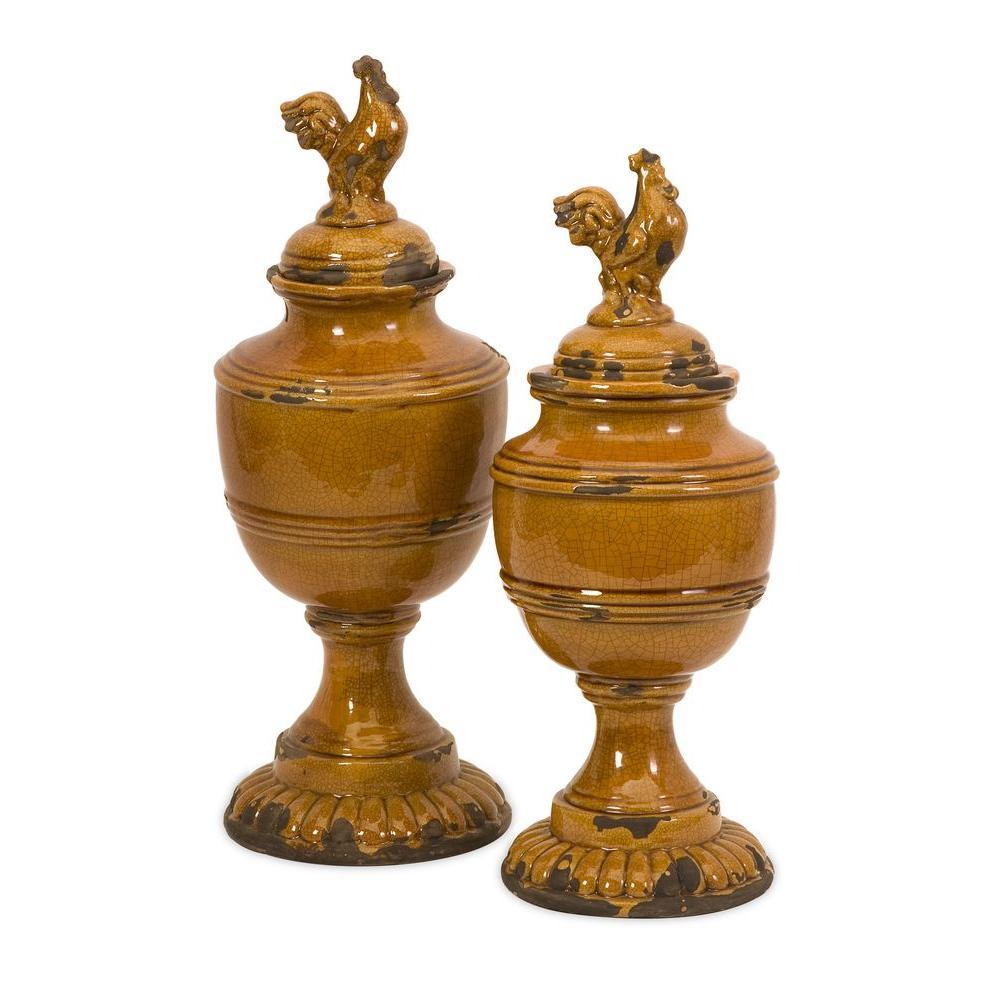 Filament Design Lenor 18.25 in. Ceramic Decorative Jar in Orange (Set of 2)