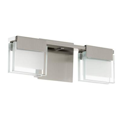 Vicino 12.6 in. W x 5.71 in. H Satin Nickel Dimmable Integrated LED Vanity Light with Frosted Glass Rectangular Shades