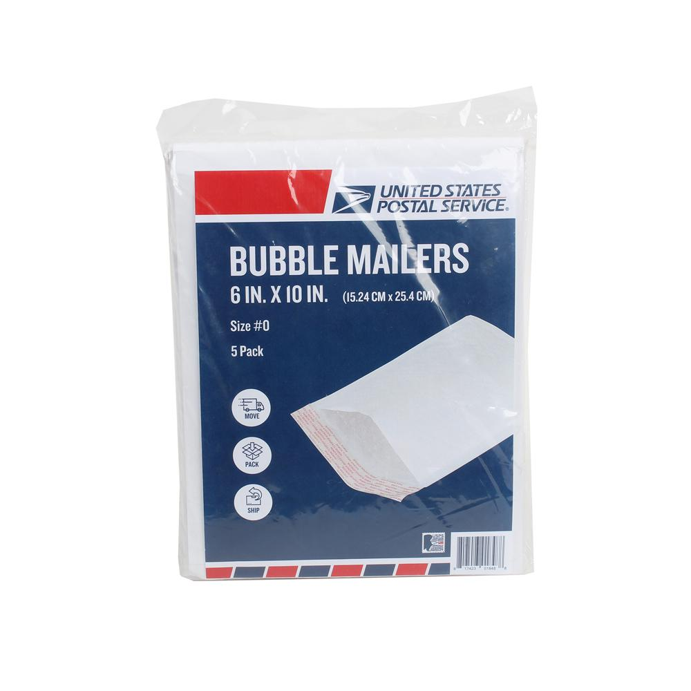 Pratt Retail Specialties #0 6 in. x 10 in. Paper Bubble Mailers Envelope with Adhesive Easy Close Strip (5-Pack)
