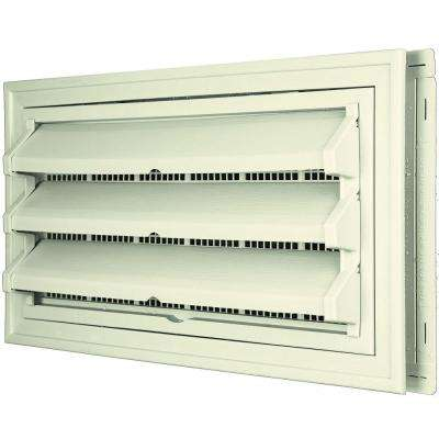 9-3/8 in. x 17-1/2 in. Foundation Vent Kit with Trim Ring and Optional Fixed Louvers (Molded Screen) in #082 Linen