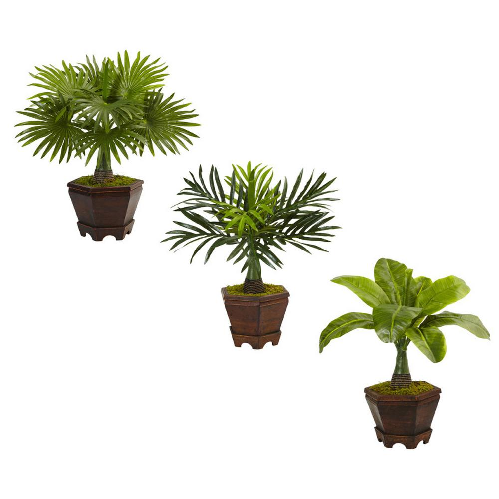 nearly natural indoor assorted 16 5 in h mini artificial palm trees in planter set of 3 6325. Black Bedroom Furniture Sets. Home Design Ideas