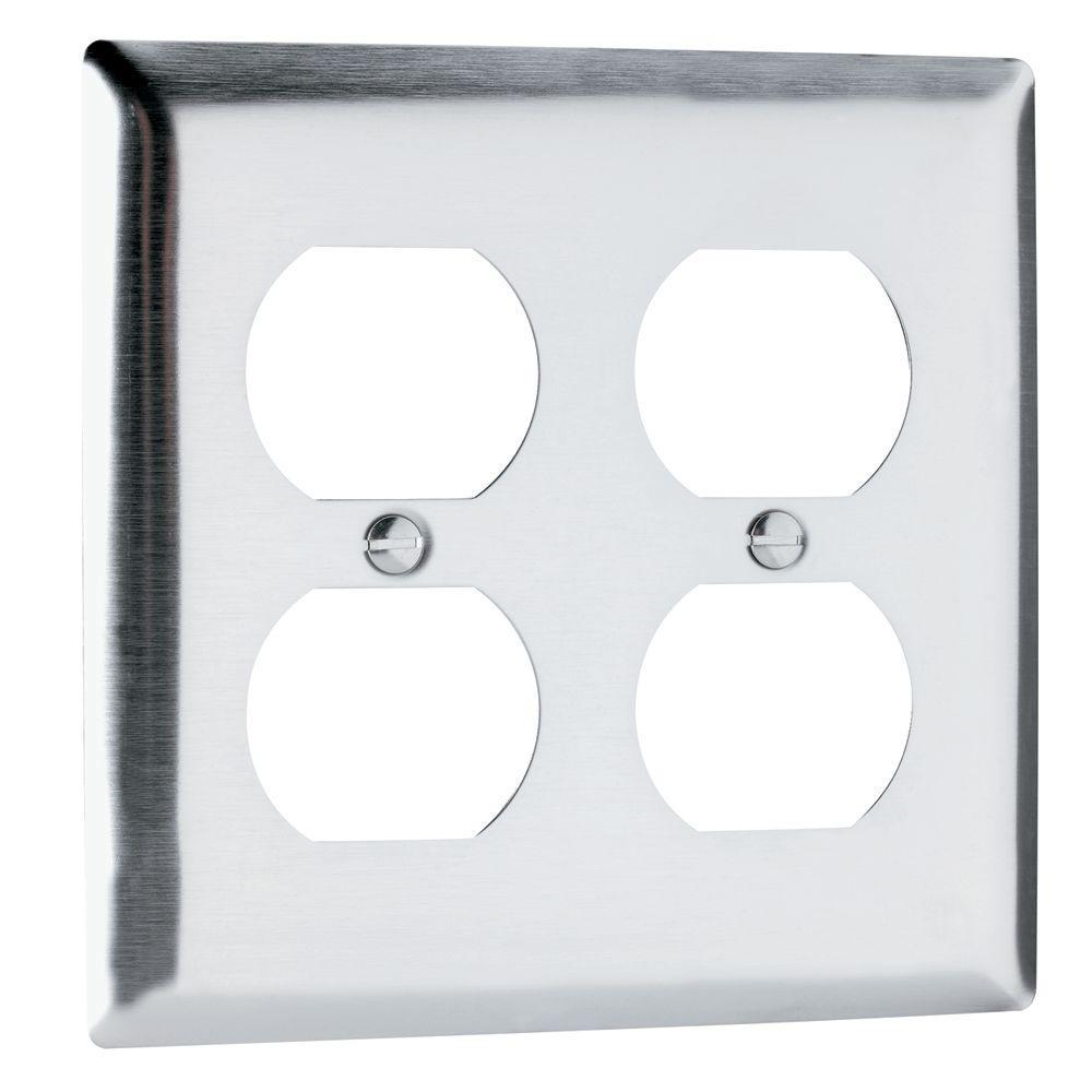 legrand pass u0026 seymour 2gang 2 duplex outlet wall plate stainless steel