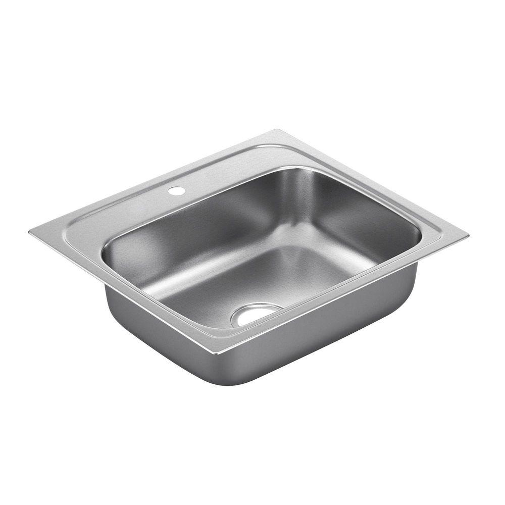MOEN 2200 Series Drop-in Stainless Steel 15 in. 1-Hole Single Bowl Kitchen Sink