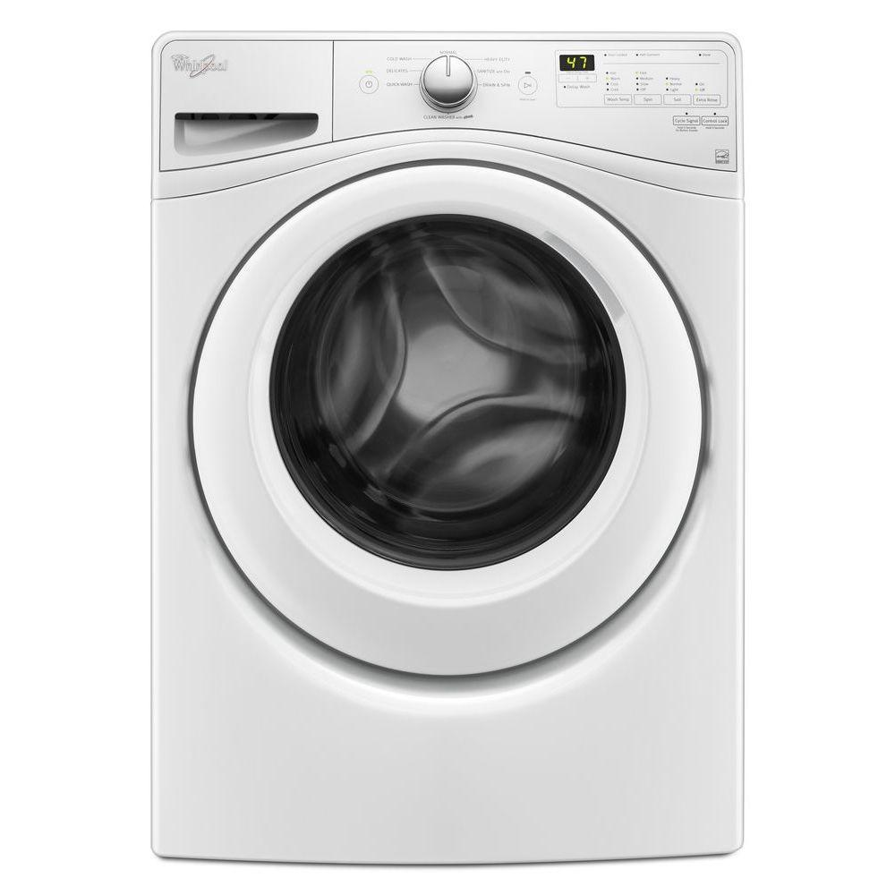 Whirlpool 4 5 Cu Ft Stackable White Front Load Washing Machine With Adapative Wash Technology