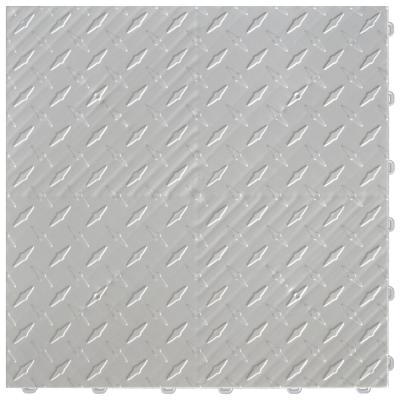 15.75 in. x 15.75 in. Pearl Silver Diamond Trax 25-Tile Modular Flooring Pack (43 sq. ft./case)
