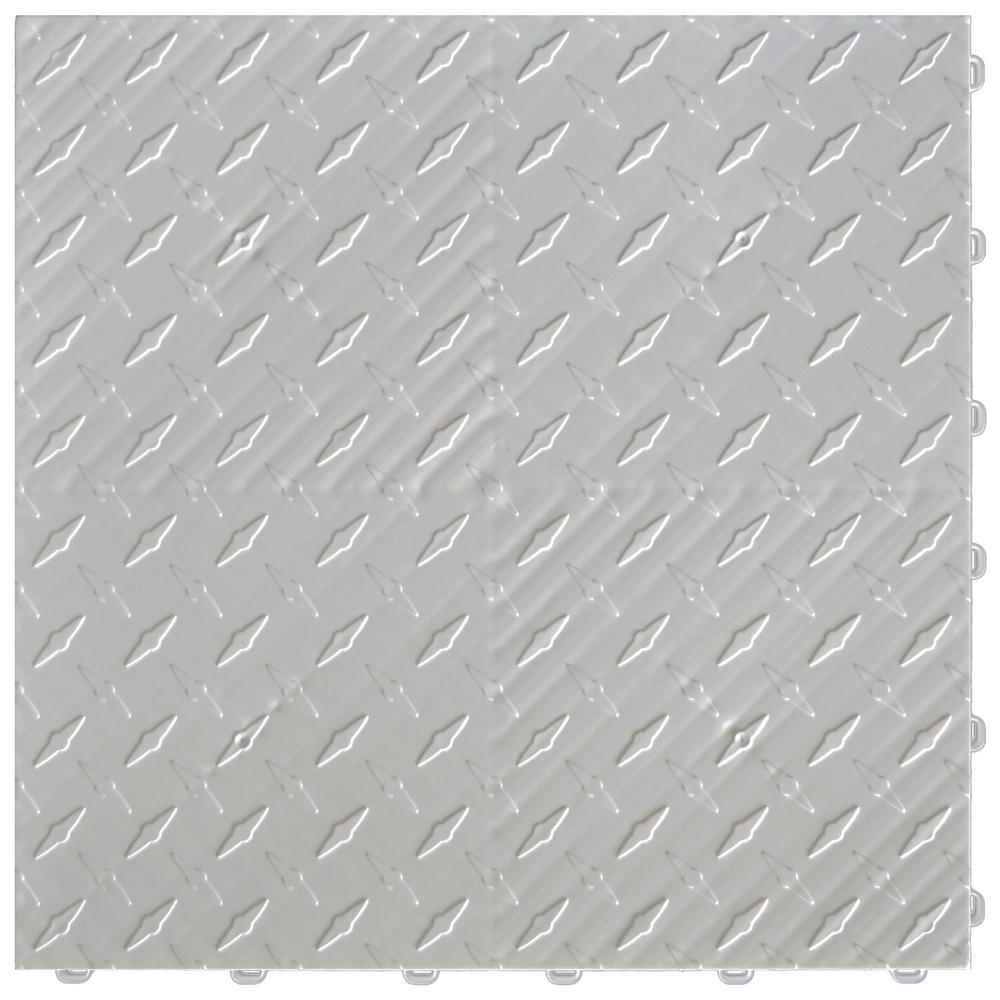 Swisstrax 15.75 in. x 15.75 in. Pearl Silver Diamond Trax 25-Tile Modular Flooring Pack (43 sq. ft./case)