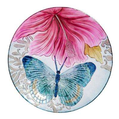 Butterfly Dance with Hibiscus 18 in. Birdbath