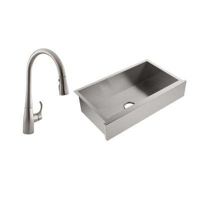 Lyric All-in-One Farmhouse Apron-Front Stainless Steel 34 in. Single Bowl Kitchen Sink with Simplice Kitchen Faucet