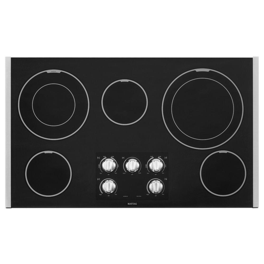 36 in. Ceramic Glass Electric Cooktop in Stainless Steel with 5