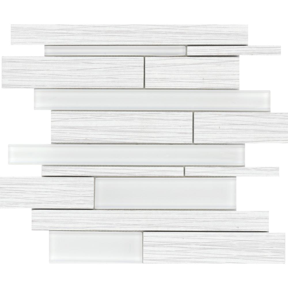 Thread White Matte 13.07 in. x 13.07 in. x 7mm Porcelain Mesh-Mounted Mosaic Tile (1.17 sq. ft.)