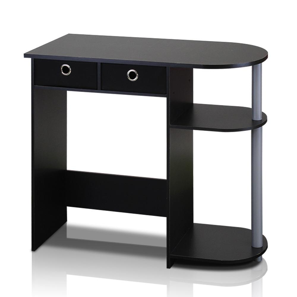 32 in. Rectangular Black 2 Drawer Computer Desk with Built-In Storage