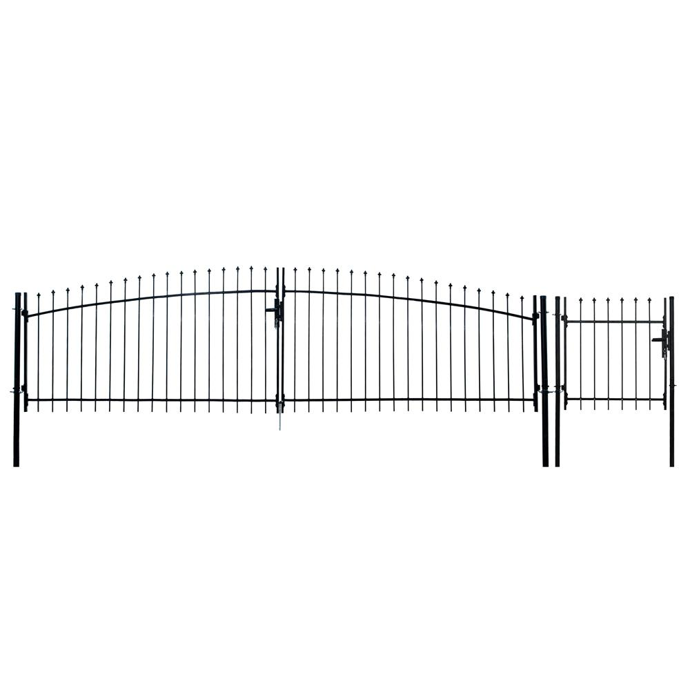 Athens Style 15 ft. x 5 ft. Black Steel DIY Dual