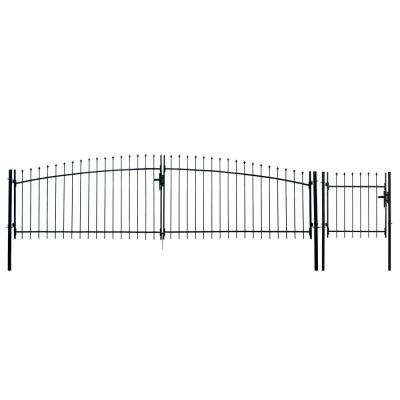Athens Style 15 ft. x 5 ft. Black Steel DIY Dual Swing Driveway Fence Gate with Pedestrian Gate