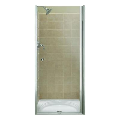 Fluence 35-1/4 in. x 65-1/2 in. Semi-Frameless Pivot Shower Door in Bright Silver with Handle