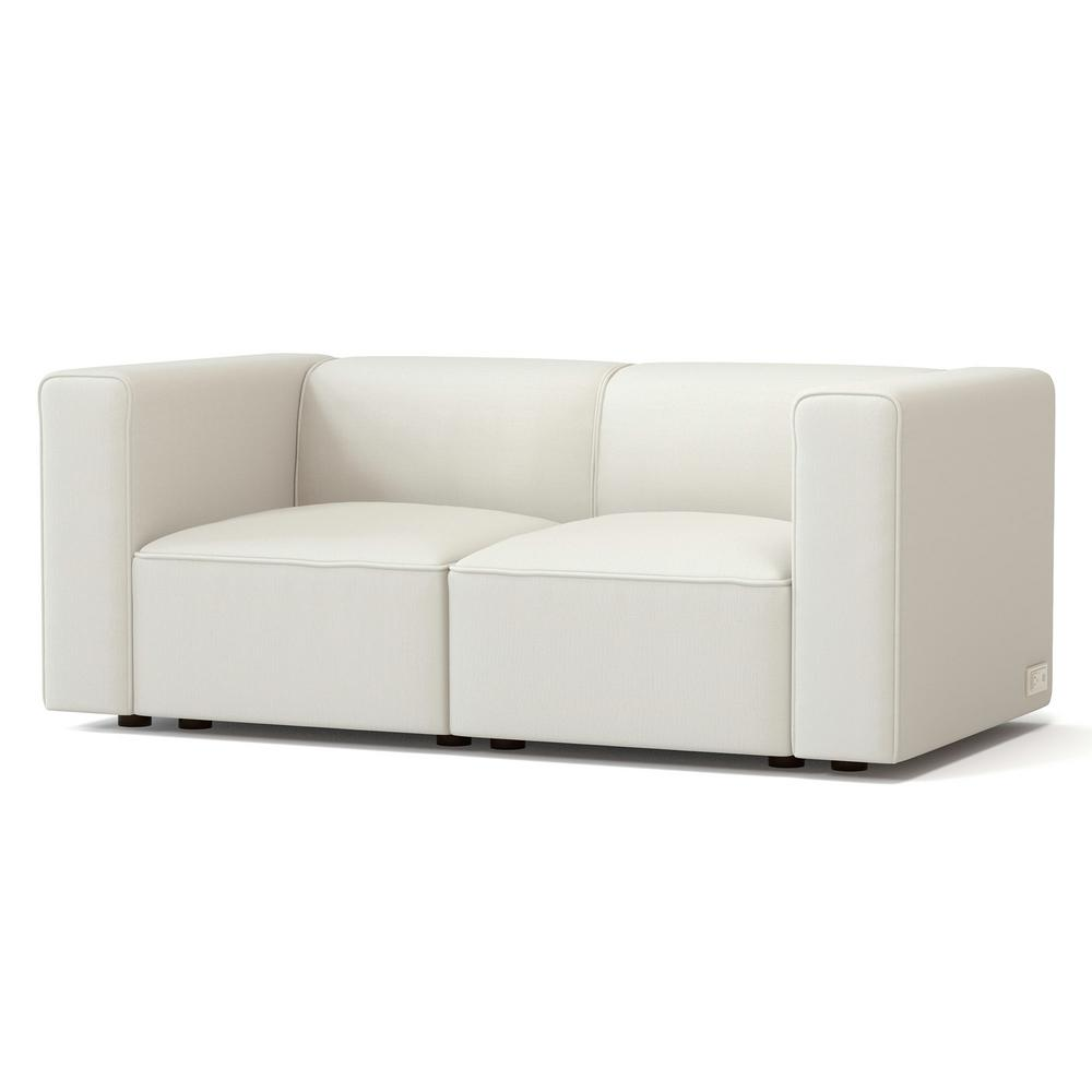 Node 66.4 in. Sand Polyester 2-Seater Loveseat with Square Arms