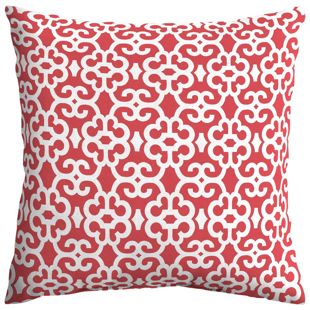 Ruby Trellis Square Outdoor Throw Pillow