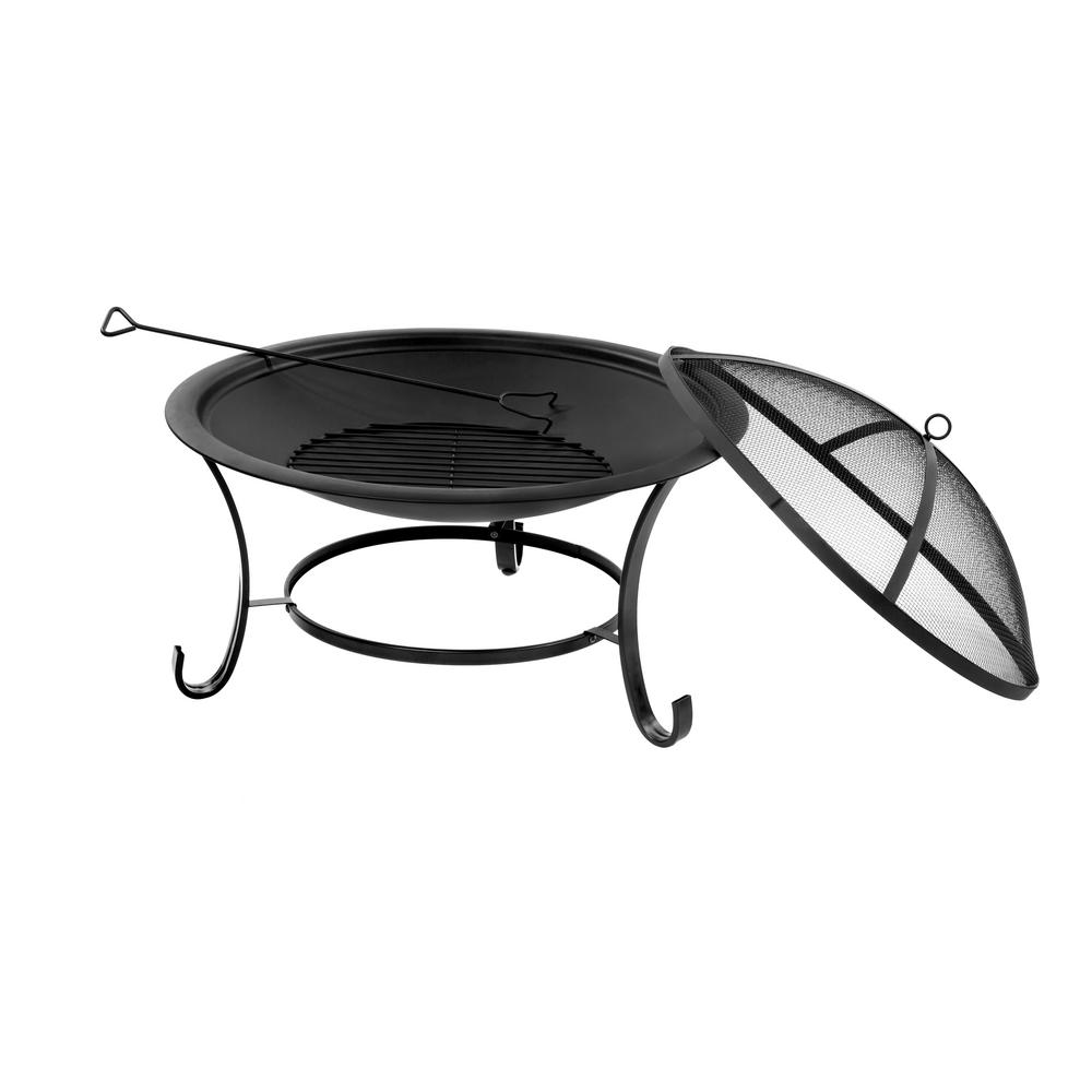 Sun Joe 30 in. x 22 in. Round Steel Fire Pit