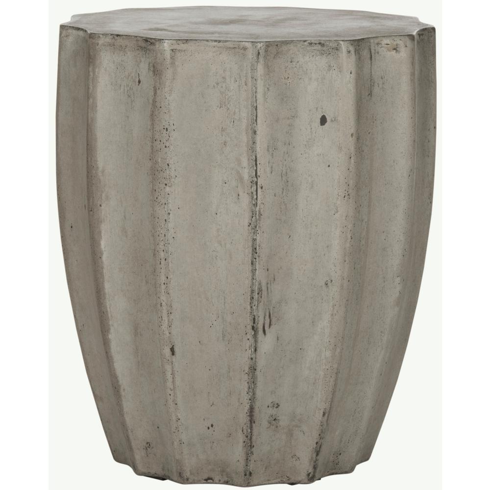 Jaslyn Dark Gray Round Stone Indoor/Outdoor Accent Table