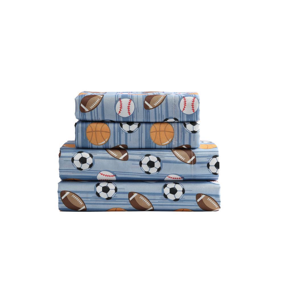 Kute Kids 3-Piece Athletes Stripe Geometric Microfiber Twin Sheet Set
