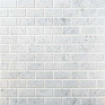Beveled White Carrera 12 in. x 12 in. x 8 mm Marble Floor and Wall Tile