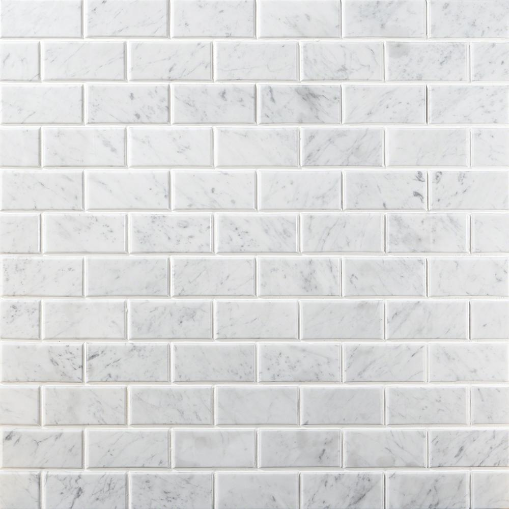 Ivy Hill Tile Beveled White Carrera 12 in. x 12 in. x 8 mm Marble Floor and Wall Tile