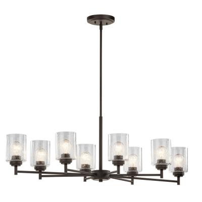 Winslow 8-Light Olde Bronze Oval Chandelier with Clear Seeded Glass Shade