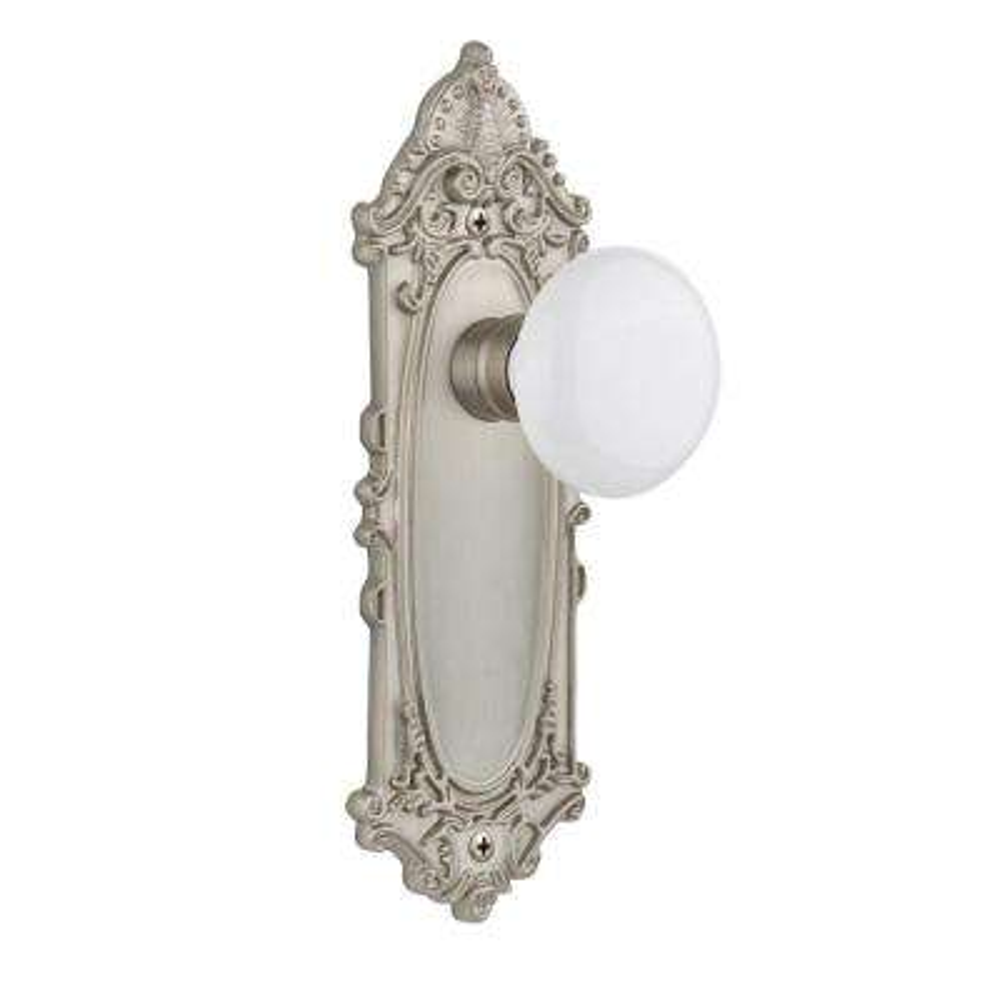Victorian Plate Single Dummy White Porcelain Door Knob in Satin Nickel