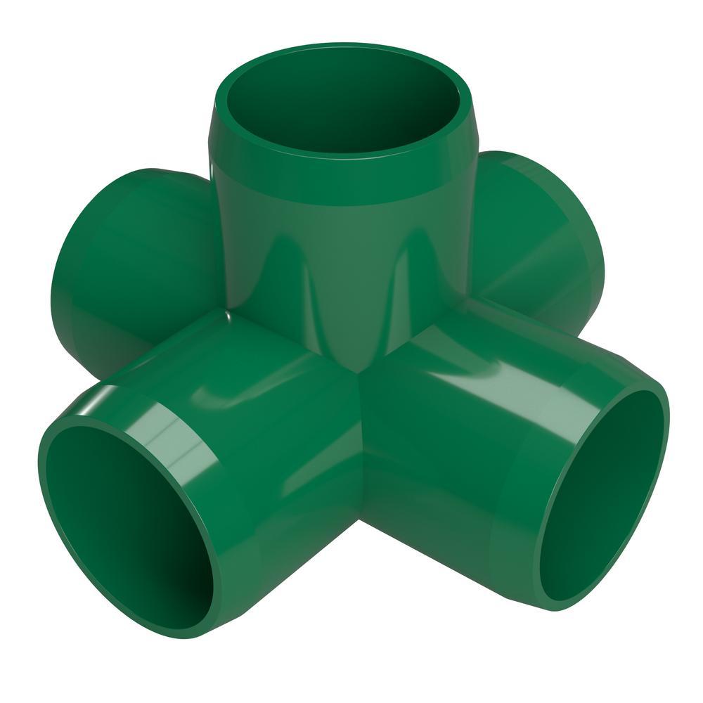 1/2 in. Furniture Grade PVC 5-Way Cross in Green (10-Pack)