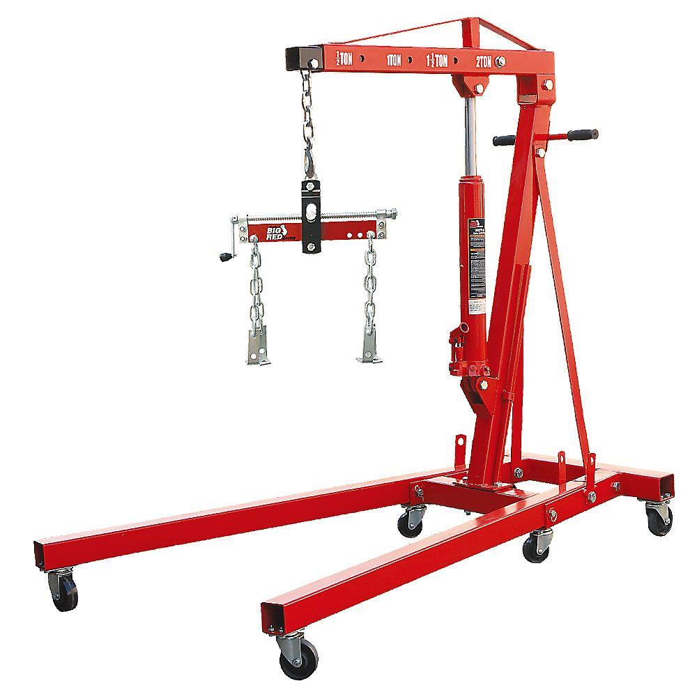 Big Red 2-Ton Foldable Engine Crane with Load Leveler-T32002X+TRF2750 - The  Home Depot