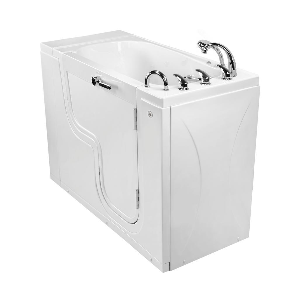 Wheelchair Transfer26 52 in. Walk-In MicroBubble Air Bath Bathtub in White, Faucet Set, Heated Seat, RH 2 in. Dual Drain
