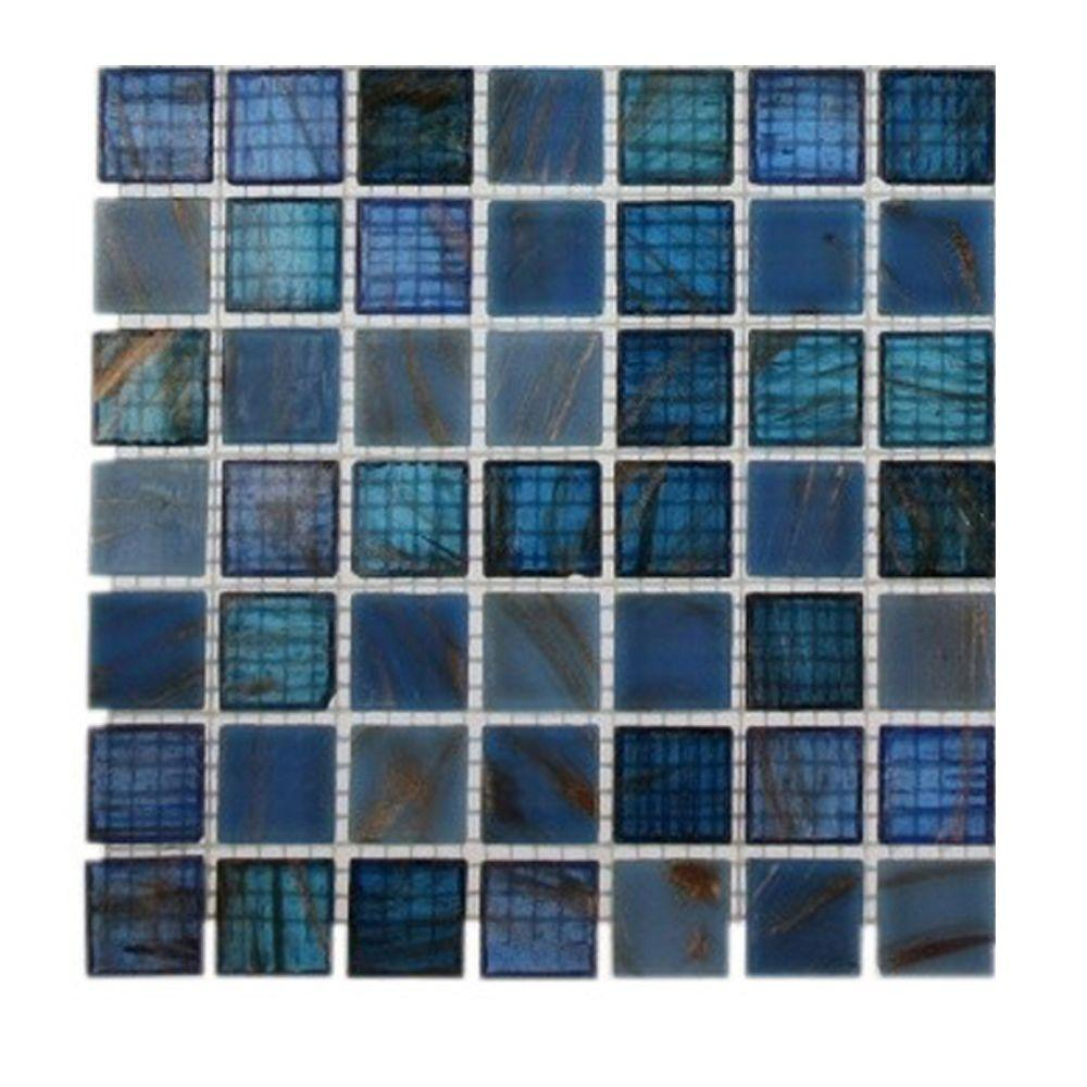 Splashback Tile Roman Selection Iced Blue Lantern Glass Mosaic Tile ...