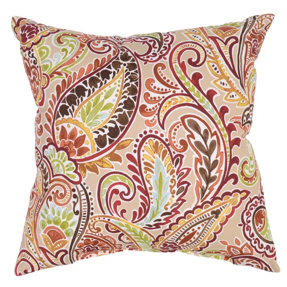 Hampton Bay Chili Paisley Square Outdoor Throw Pillow 7680 04229211