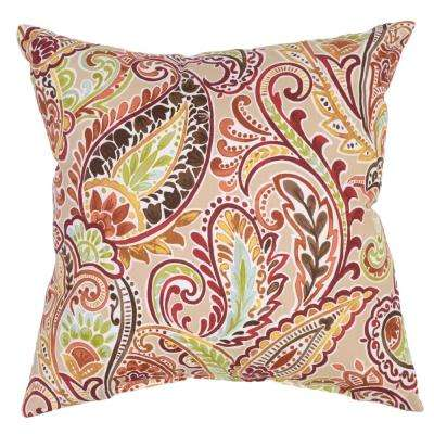 Superieur Chili Paisley Square Outdoor Throw Pillow