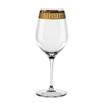 Muse 28.5 oz. Bordeaux Glasses in Clear with Gold Trim (Set of 2)