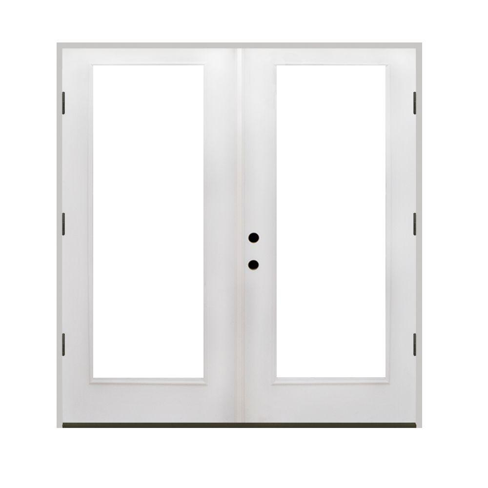 Prehung Exterior French Doors Outswing Steves Sons 68 In X 80 In Primed White Fiberglass