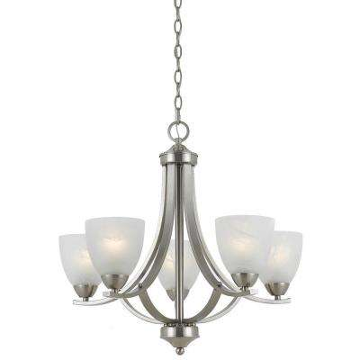 Lampu 5-Light Satin Nickel Chandelier