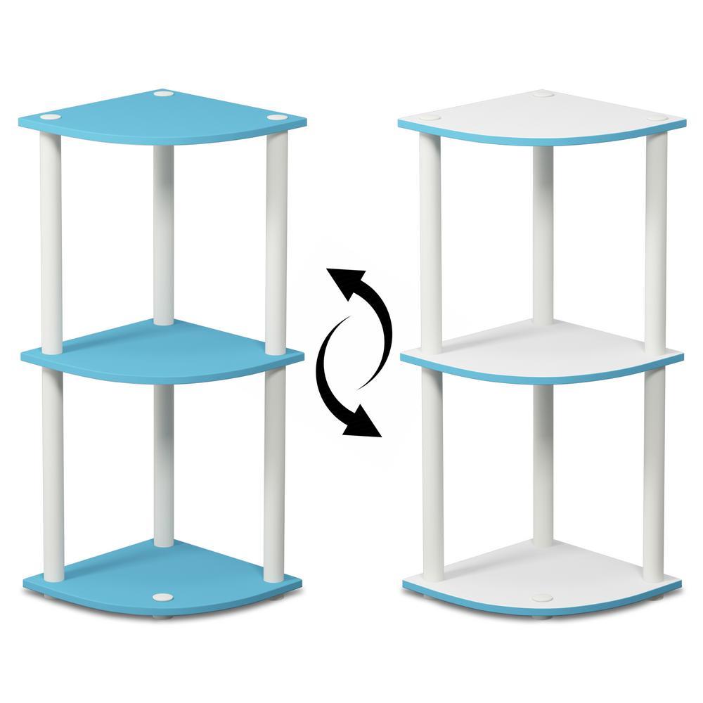 Furinno Turn-N-Tube Light Blue/White Reversible 3-Shelf Corner Open Shelf