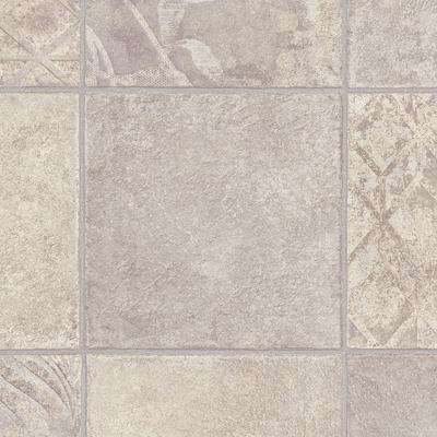 Marbella Tile Grey 13.2 ft. Wide x Your Choice Length Residential Vinyl Sheet Flooring