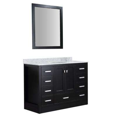 Chateau 48 in. W x 36 in. H Skirted Bath Vanity in Black with Vanity Top in Carrara White with White Basin and Mirror
