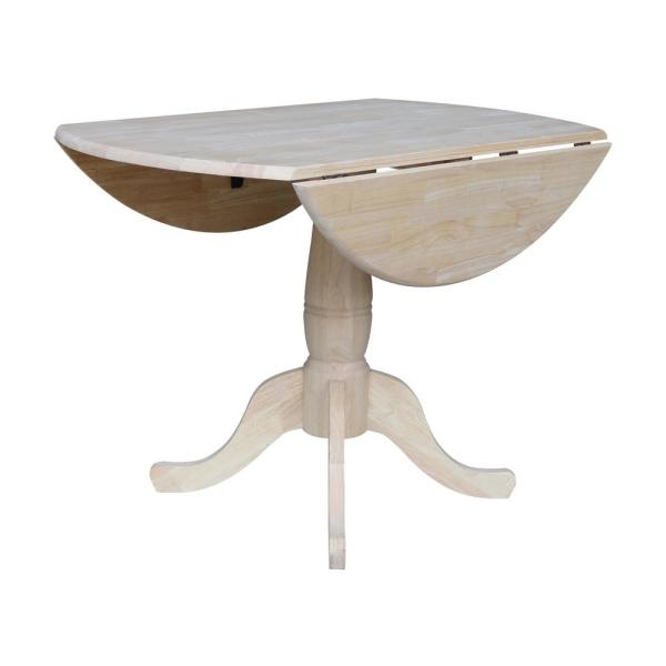 International Concepts Unfinished Round Drop Leaf Dining Table T 42dp The Home Depot