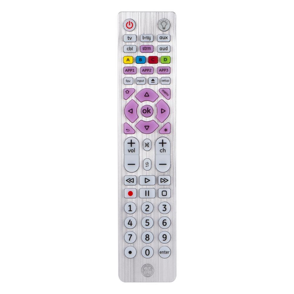 6-Device Universal Remote Control, Backlit, Silver