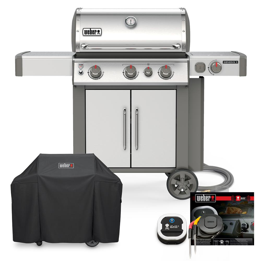 Weber Genesis II S-335 Natural Gas Grill Combo with Cover and iGrill 3